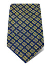 Navy Floral Outline Woven Silk Tie