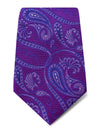 Purple with Blue, Navy & Lilac Paisley Woven Silk Tie