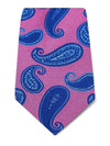 Pink Woven Silk Tie with Blue & Navy Spaced Paisley