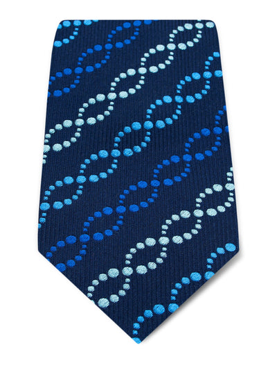 Navy Woven Silk Tie with Royal Blue & Blue Dotted Wave Links