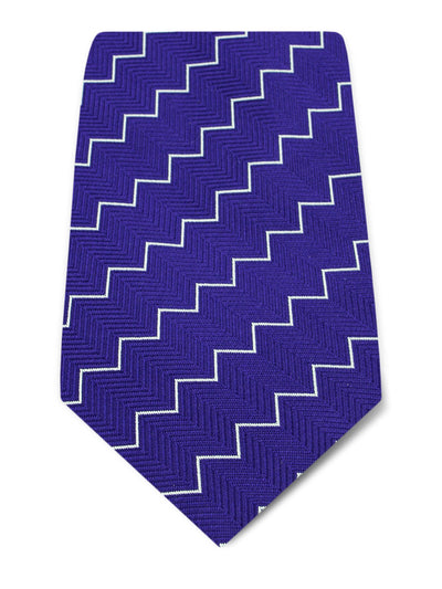 Purple Woven Silk Tie with White Herringbone