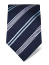 Navy Woven Silk Tie with Light Blue, Pink & White Stripes