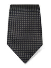 Black Woven Silk Tie with Silver Squares