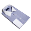 Contemporary Fit, White Classic Collar, White Double Cuff Shirt in a Navy & White Bengal Stripe Poplin Cotton