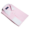 Contemporary Fit, White Classic Collar, White Double Cuff Shirt in a Pink & White Bengal Stripe Poplin Cotton