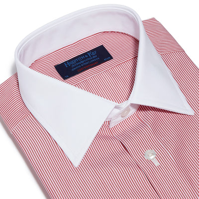 Contemporary Fit, White Classic Collar, White Double Cuff Shirt in a Red & White Bengal Stripe Poplin Cotton