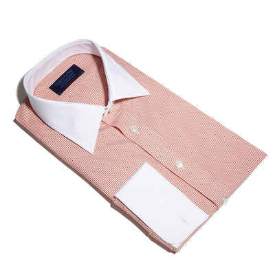 Contemporary Fit, White Classic Collar, White Double Cuff Shirt in a Orange & White Bengal Stripe Poplin Cotton