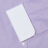 Contemporary Fit, White Classic Collar, White Double Cuff Shirt in a Purple & White Bengal Stripe Poplin Cotton