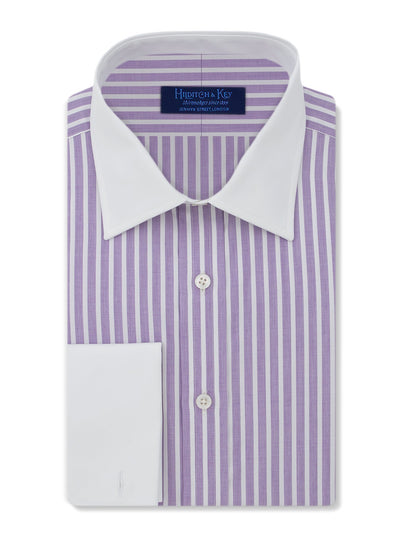 Contemporary Fit, White Classic Collar, White Double Cuff Shirt in a Purple & White Stripe Piquet Cotton