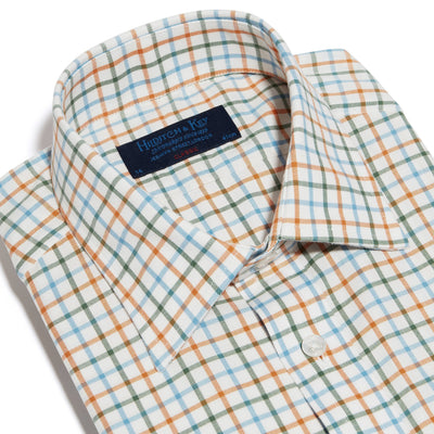 Classic Fit, Classic Collar, 2 Button Cuff Shirt in a Cream, Orange, Green & Blue Overcheck Brushed Cotton