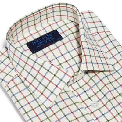 Classic Fit, Classic Collar, 2 Button Cuff Shirt in a Cream, Red, Green & Blue Overcheck Brushed Cotton