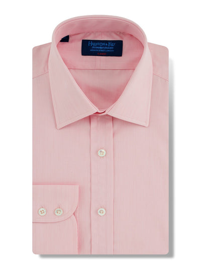 Classic Fit, Classic Collar, 2 Button Cuff Shirt in a Plain Pink End-On-End Cotton