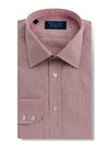 Classic Fit, Classic Collar, 2 Button Cuff Shirt in a Wine & White Fine Stripe Poplin Cotton