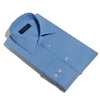 Classic Fit, Classic Collar, 2 Button Cuff Shirt in a Plain Blue Poplin Cotton