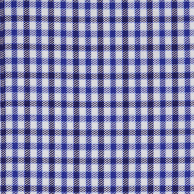 Classic Fit, Classic Collar, 2 Button Cuff Shirt in a Blue & White Check Twill Cotton