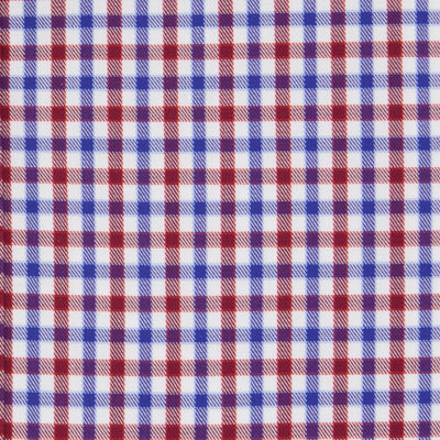 Classic Fit, Classic Collar, 2 Button Cuff Shirt in a Red, Blue & White Check Twill Cotton