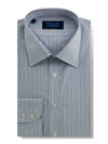 Classic Fit, Classic Collar, 2 Button Cuff Shirt in a Blue, Red & White Stripe Poplin Cotton
