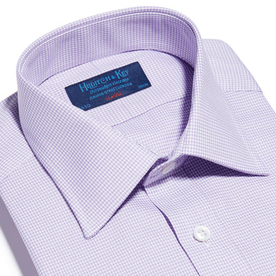 Lilac Houndstooth Cotton Classic Fit, Classic Collar, Double Cuff Shirt