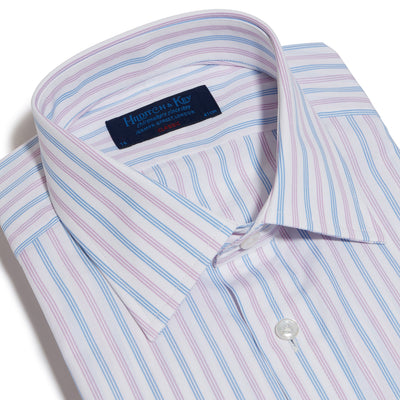 Classic Fit, Classic Collar, Double Cuff Shirt in a Purple & Blue Stripe Poplin Cotton