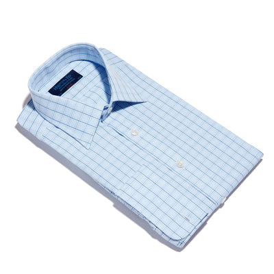 Blue & White Regency Check Poplin Cotton Classic Fit, Classic Collar, Double Cuff Shirt