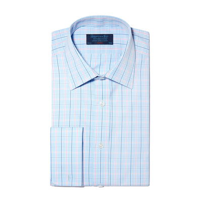 Pink & Blue Check Poplin Cotton Classic Fit, Classic Collar, Double Cuff Shirt