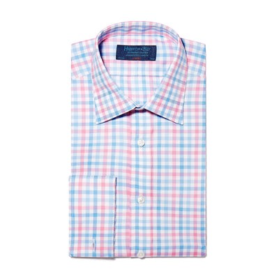 Pink, Blue & White Large Check Twill Cotton Classic Fit, Classic Collar, Double Cuff Shirt
