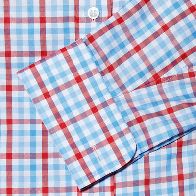 Red, Blue & White Large Check Twill Cotton Classic Fit, Classic Collar, Double Cuff Shirt