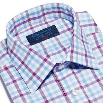 Purple, Blue & White Large Check Twill Cotton Classic Fit, Classic Collar, Double Cuff Shirt