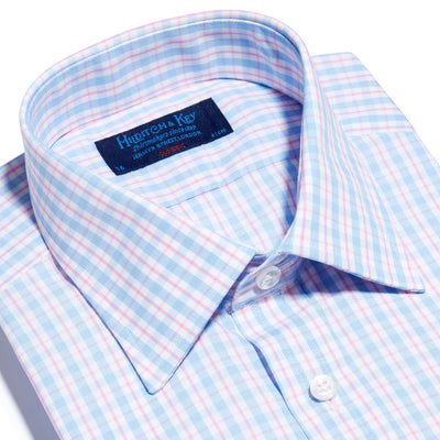 Pink, Blue & White Check Poplin Cotton Classic Fit, Classic Collar, Double Cuff Shirt