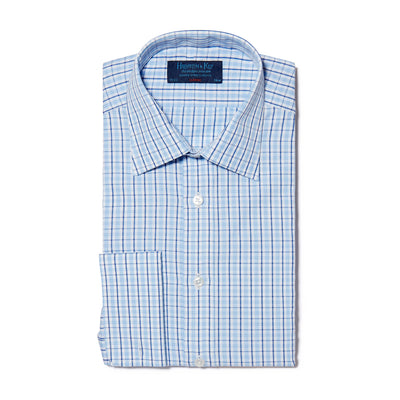 Navy, Blue & White Check Poplin Cotton Classic Fit, Classic Collar, Double Cuff Shirt