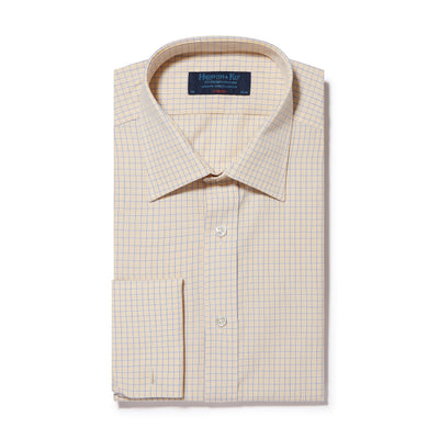 Classic Fit, Classic Collar, Double Cuff Shirt in a Yellow & Navy Graph Overcheck Poplin Cotton