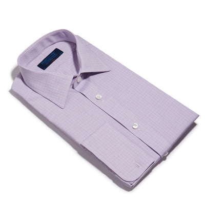 Classic Fit, Classic Collar, Double Cuff Shirt in a Purple & Navy Graph Overcheck Poplin Cotton