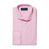 Classic Fit, Cut-away Collar, 2 Button Cuff Shirt in a Pink & Blue Line Check Poplin Cotton