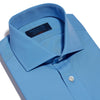 Classic Fit, Cut-away Collar, 2 Button Cuff Shirt in a Plain Blue Poplin Cotton