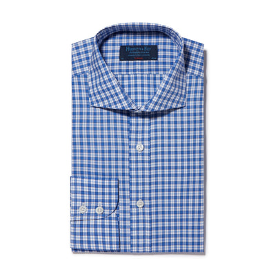 Classic Fit, Cut-away Collar, 2 Button Cuff Shirt in a Navy, Blue & White Check Poplin Cotton