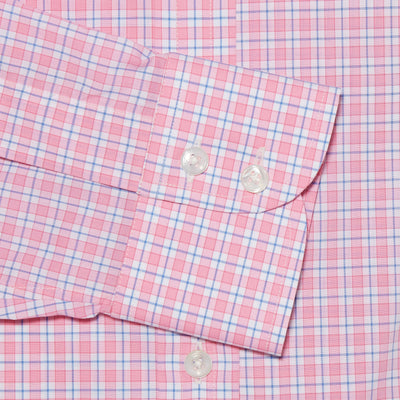 Classic Fit, Cut-away Collar, 2 Button Cuff Shirt in a Pink, Blue & White Check Poplin Cotton