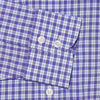 Classic Fit, Cut-away Collar, 2 Button Cuff Shirt in a Purple, Blue & White Check Poplin Cotton