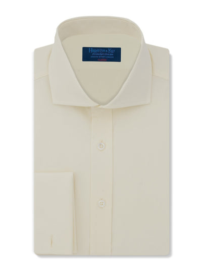 Classic Fit, Cut-away Collar, Double Cuff Shirt in a Plain Cream Poplin Cotton