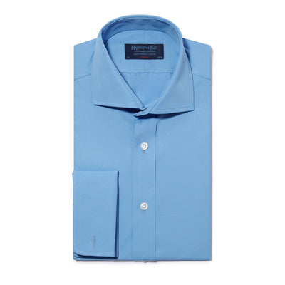 Classic Fit, Cut-away Collar, Double Cuff Shirt in a Plain Blue Poplin Cotton