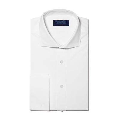 Classic Fit, Cut-away Collar, Double Cuff Shirt in a Plain White Poplin Cotton