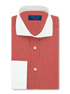 Classic Fit, White Cut-away Collar, White Double Cuff Shirt in a Red & White Fine Stripe Poplin Cotton