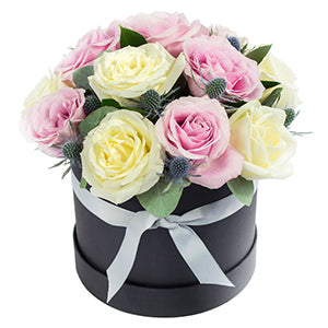 12 stems of Roses in Mix colour ,hand-delivered in a Hat Box.
