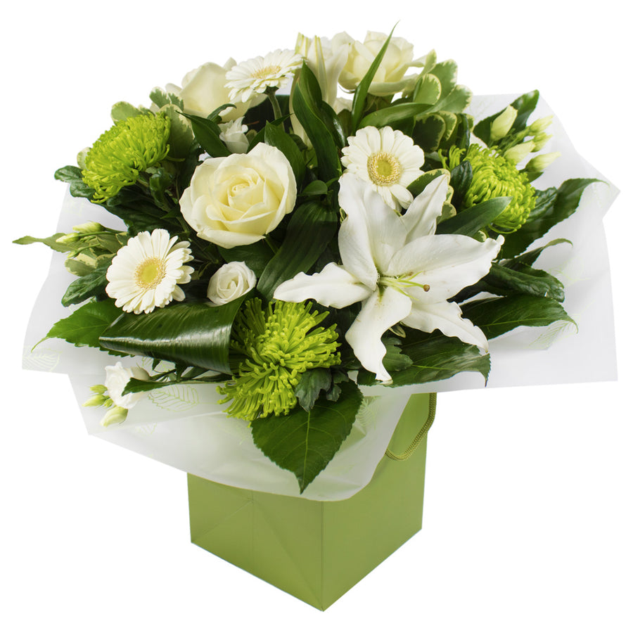 Luxurious natural green and white Hand Tied.