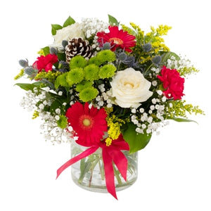 Flowers elegantly arranged in a festive colourway