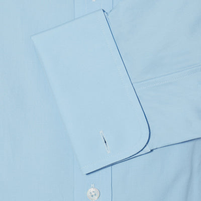 Classic Fit, Cutaway Collar, Double Cuff Shirt in a Plain Ice Blue Poplin Cotton