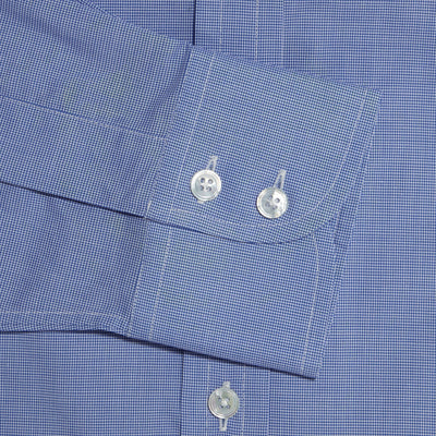 Classic Fit, Classic Collar, 2 Button Cuff Shirt in a Plain Navy & White Micro Houndstooth Cotton