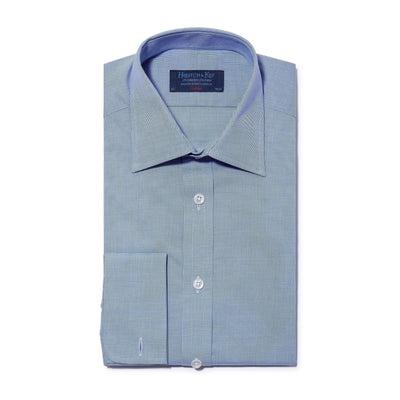 Classic Fit, Classic Collar, Double Cuff Shirt in a Plain Navy & White Micro Houndstooth Cotton