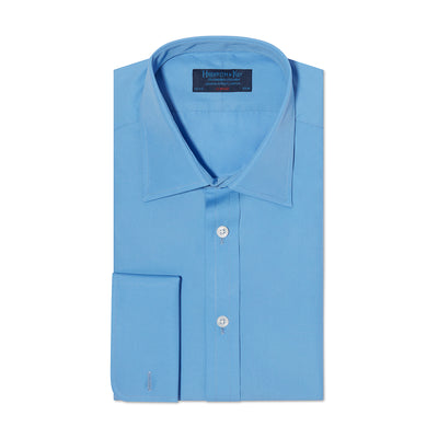 Classic Fit, Classic Collar, Double Cuff Shirt in a Plain French Blue Poplin Cotton