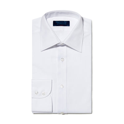 Classic Fit, Classic Collar, 2 Button Cuff Shirt In Plain White Herringbone