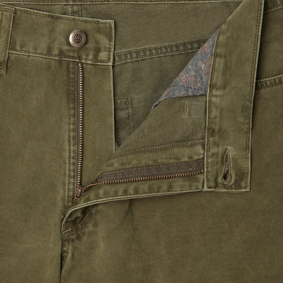 Plain Forest Green Brushed Cotton Jeans